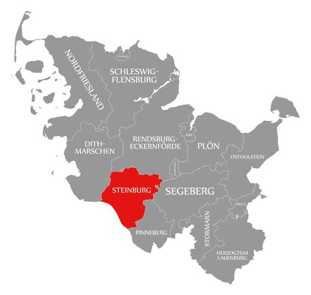 Steinburg red highlighted in map of Schleswig Holstein Germany Stock Photo