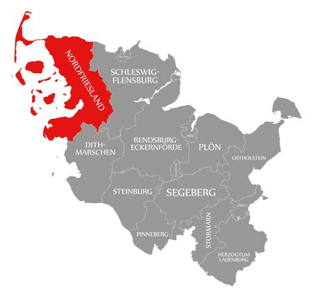Nordfriesland red highlighted in map of Schleswig Holstein Germany