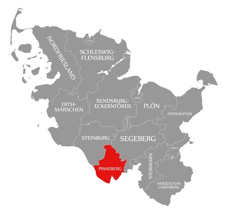 Pinneberg red highlighted in map of Schleswig Holstein Germany Stock Photo