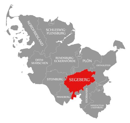 Segeberg red highlighted in map of Schleswig Holstein Germany