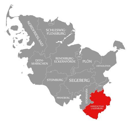 Herzogtum Lauenburg red highlighted in map of Schleswig Holstein Germany