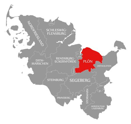 Ploen red highlighted in map of Schleswig Holstein Germany