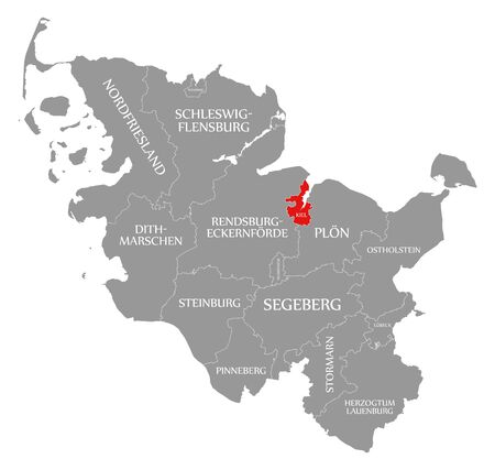 Kiel red highlighted in map of Schleswig Holstein Germany