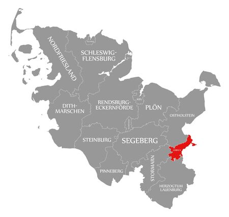 Luebeck red highlighted in map of Schleswig Holstein Germany