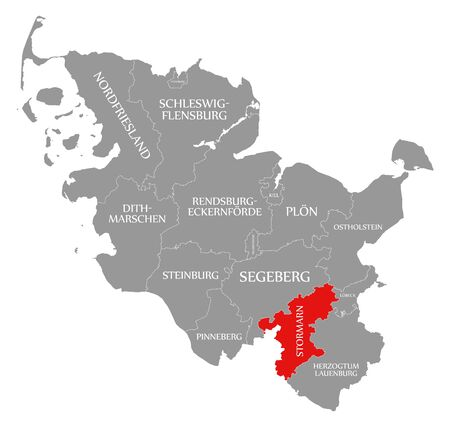 Stormarn red highlighted in map of Schleswig Holstein Germany