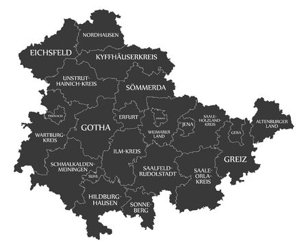 Modern Map - Thuringia map of Germany with counties and labels black