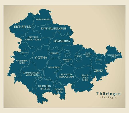 Modern Map - Thuringia map of Germany with counties and labels Stock Photo