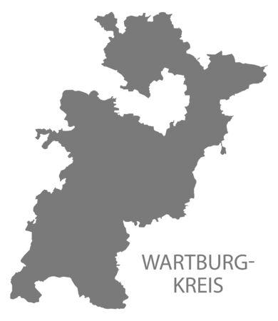 Wartburgkreis grey county map of Thuringia Germany