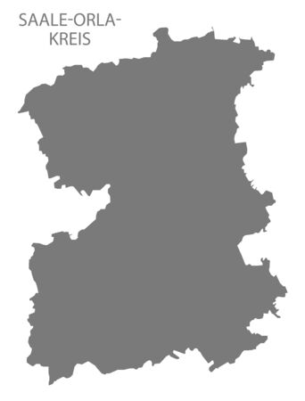 Saale-Orla-Kreis grey county map of Thuringia Germany