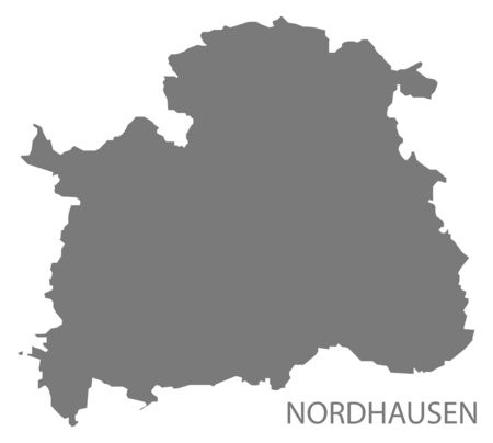Nordhausen grey county map of Thuringia Germany