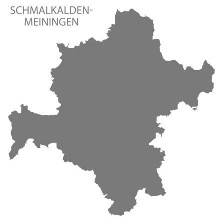 Schmalkalden-Meiningen grey county map of Thuringia Germany