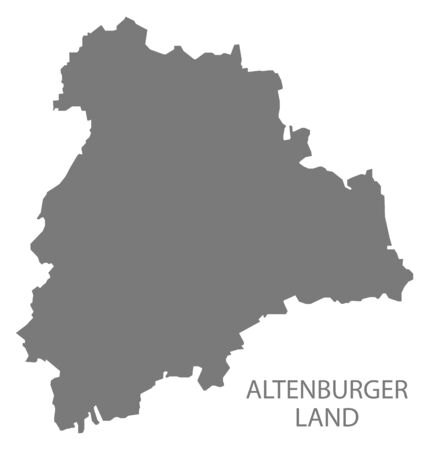 Altenburger Land grey county map of Thuringia Germany