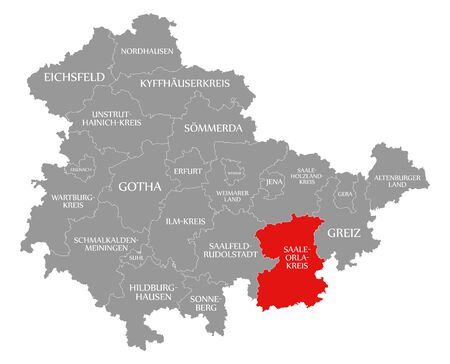 Saale-Orla-Kreis red highlighted in map of Thuringia Germany Stock Photo