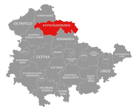 Kyffhaeuserkreis red highlighted in map of Thuringia Germany Stock Photo