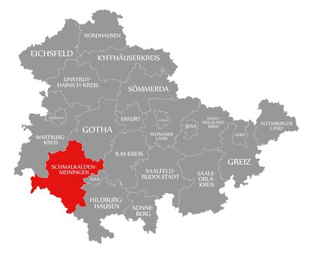 Schmalkalden-Meiningen red highlighted in map of Thuringia Germany Stock Photo