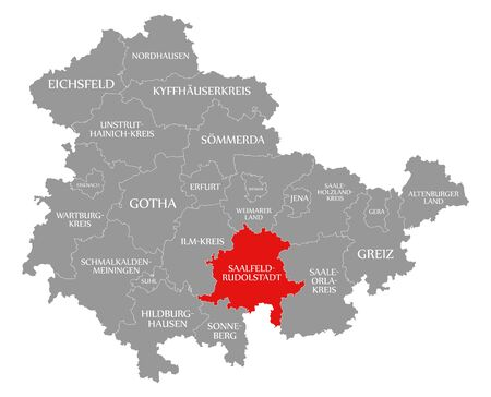 Saalfeld-Rudolstadt red highlighted in map of Thuringia Germany