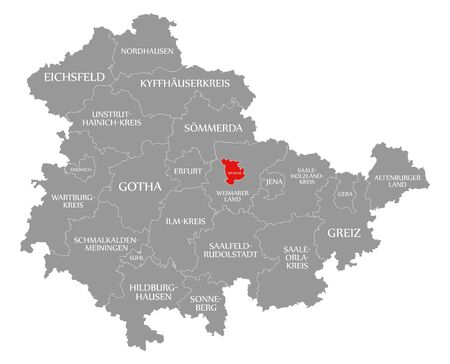 Weimar red highlighted in map of Thuringia Germany Stock Photo