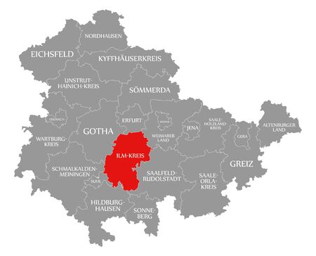 Ilm Kreis red highlighted in map of Thuringia Germany Stock Photo