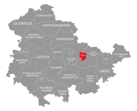 Jena red highlighted in map of Thuringia Germany