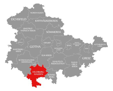 Hildburghausen red highlighted in map of Thuringia Germany Stock Photo
