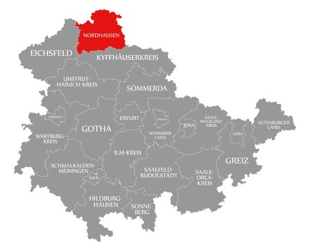 Nordhausen red highlighted in map of Thuringia Germany