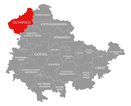 Eichsfeld red highlighted in map of Thuringia Germany