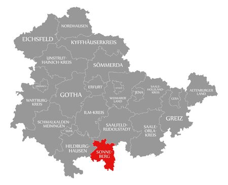 Sonneberg red highlighted in map of Thuringia Germany
