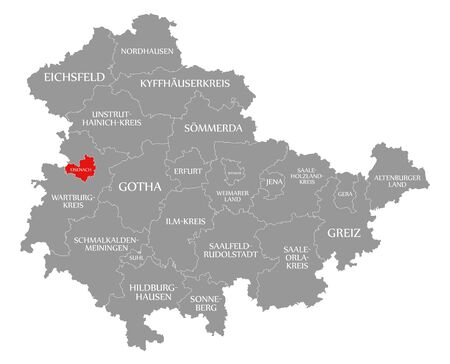 Eisenach red highlighted in map of Thuringia Germany