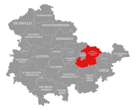 Saale-Holzland-Kreis red highlighted in map of Thuringia Germany