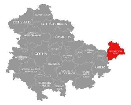 Altenburger Land red highlighted in map of Thuringia Germany