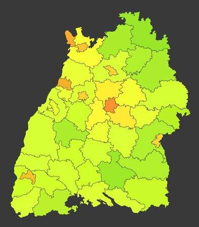 Baden-Wuerttemberg population heat map shown in different color levels
