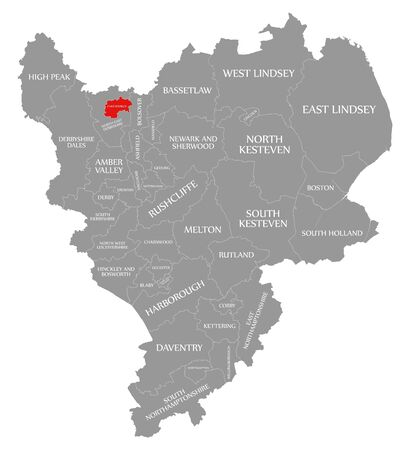 Chesterfield red highlighted in map of East Midlands England UK