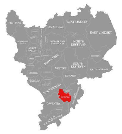 Kettering red highlighted in map of East Midlands England UK
