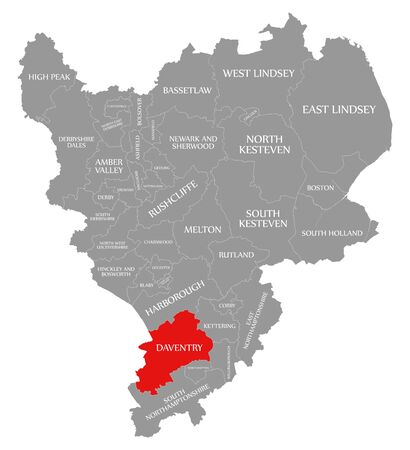 Daventry red highlighted in map of East Midlands England UK