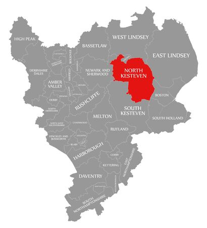 North Kesteven red highlighted in map of East Midlands England UK