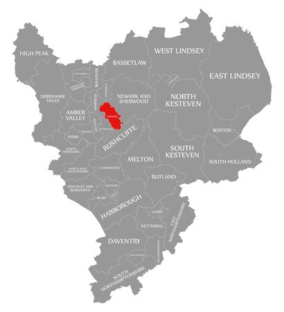 Gedling red highlighted in map of East Midlands England UK Reklamní fotografie
