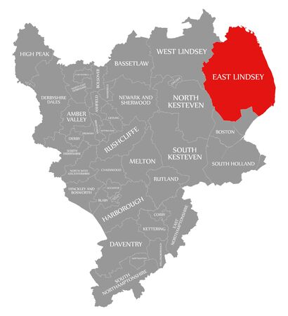 East Lindsey red highlighted in map of East Midlands England UK