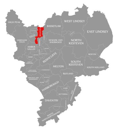 Bolsover red highlighted in map of East Midlands England UK