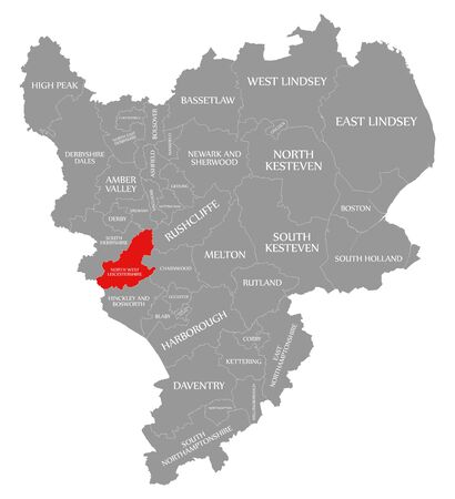 North West Leicestershire red highlighted in map of East Midlands England UK