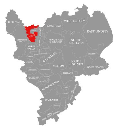North East Derbyshire red highlighted in map of East Midlands England UK