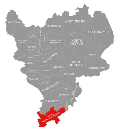 South Northamptonshire red highlighted in map of East Midlands England UK Reklamní fotografie