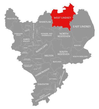 West Lindsey red highlighted in map of East Midlands England UK