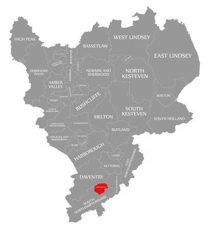 Northampton red highlighted in map of East Midlands England UK