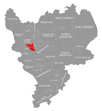 Erewash red highlighted in map of East Midlands England UK