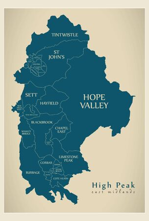 Wards map of High Peak district in East Midlands England UK with labels