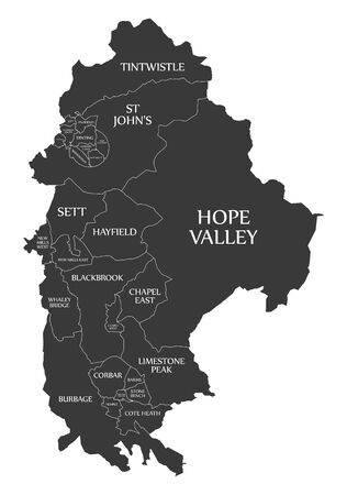 Black wards map of High Peak district in East Midlands England UK with labels