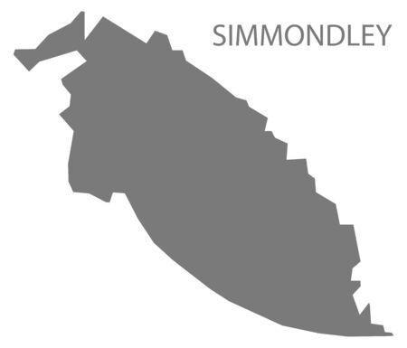 Simmondley grey ward map of High Peak district in East Midlands England UK Illustration