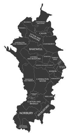Black wards map of Derbyshire Dales district in East Midlands England UK with labels