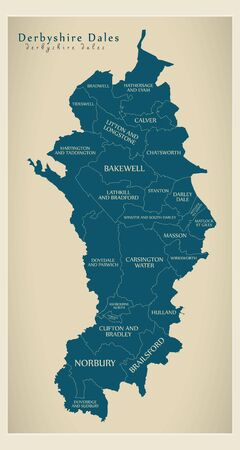 Wards map of Derbyshire Dales district in East Midlands England UK with labels Reklamní fotografie