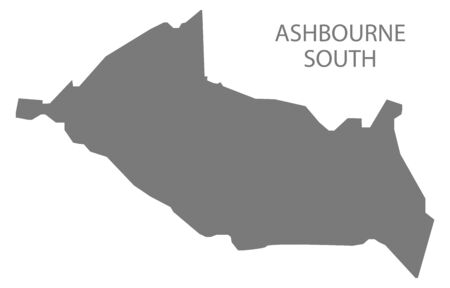 Ashbourne South grey ward map of Derbyshire Dales district in East Midlands England UK Ilustrace